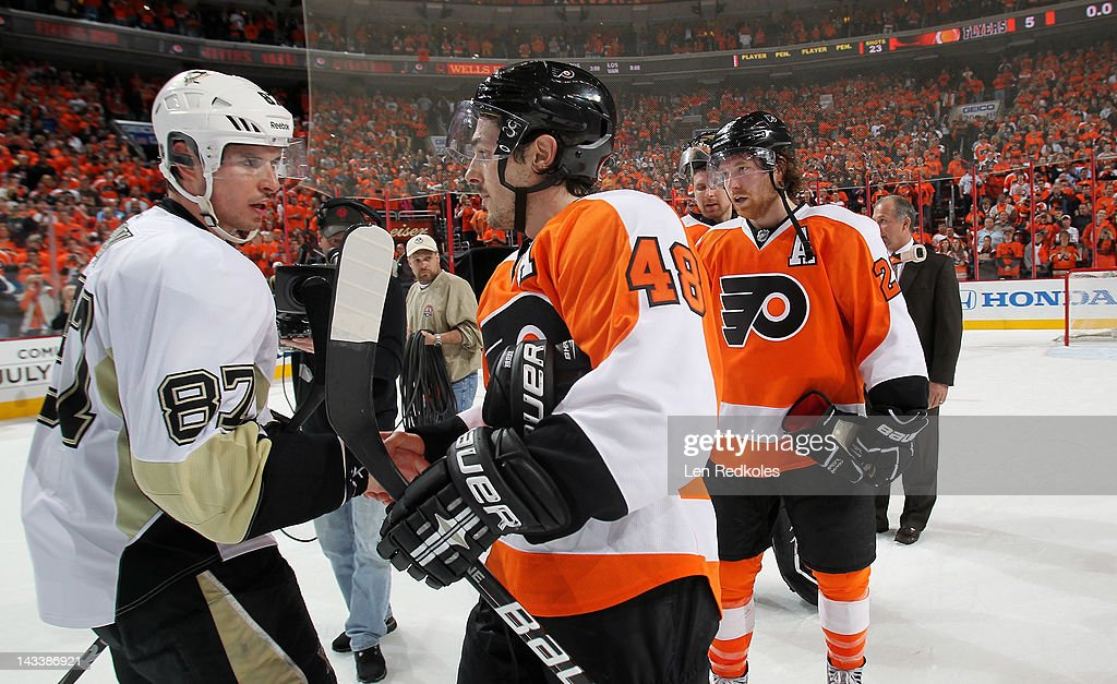 Danny Briere #48 of the Philadelphia Flyers shakes hands with Sidney Crosby #87 of the Pittsburgh Penguins after Game Six of the Eastern Conference Quarterfinals during the 2012 NHL Stanley Cup Playoffs on April 22, 2012 at the Wells Fargo Center in Philadelphia, Pennsylvania. The Flyers defeated the Penguins 5-1 to win this series in six games.