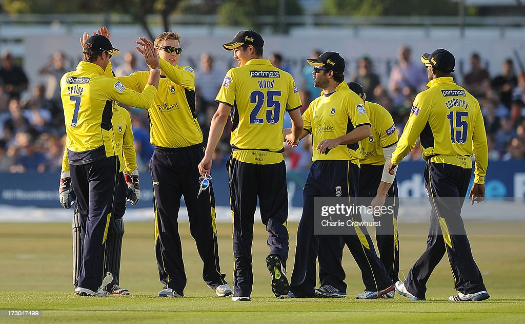 Danny Briggs of Hampshire celebrates the wicket of Rory Hamilton-Brown of Sussex during the Friends Life T20 match between Sussex Sharks and Hampshire Royals at The Brighton and Hove Jobs County Ground on July 05, 2013 in Hove, England.