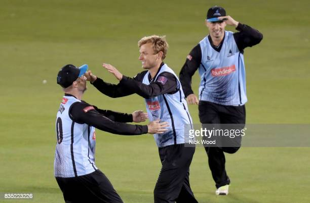 Danny Briggs of Sussex celebrates taking the wicket of Varun Chopra during the Sussex v Essex NatWest T20 Blast cricket match at the 1st Central...