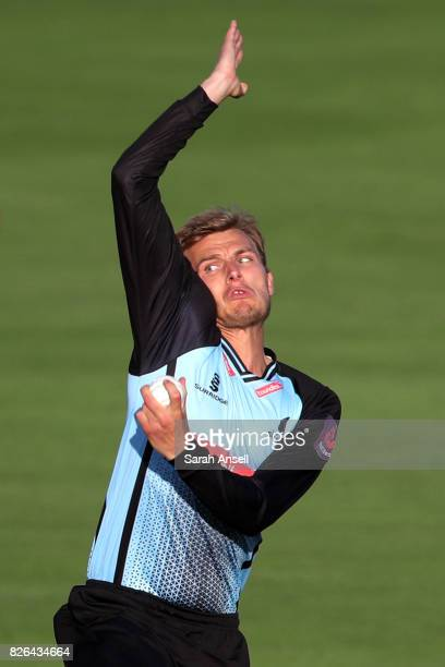 Danny Briggs of Sussex Sharks bowls during the match between Kent Spitfires and Sussex Sharks at The Spitfire Ground on August 4 2017 in Canterbury...