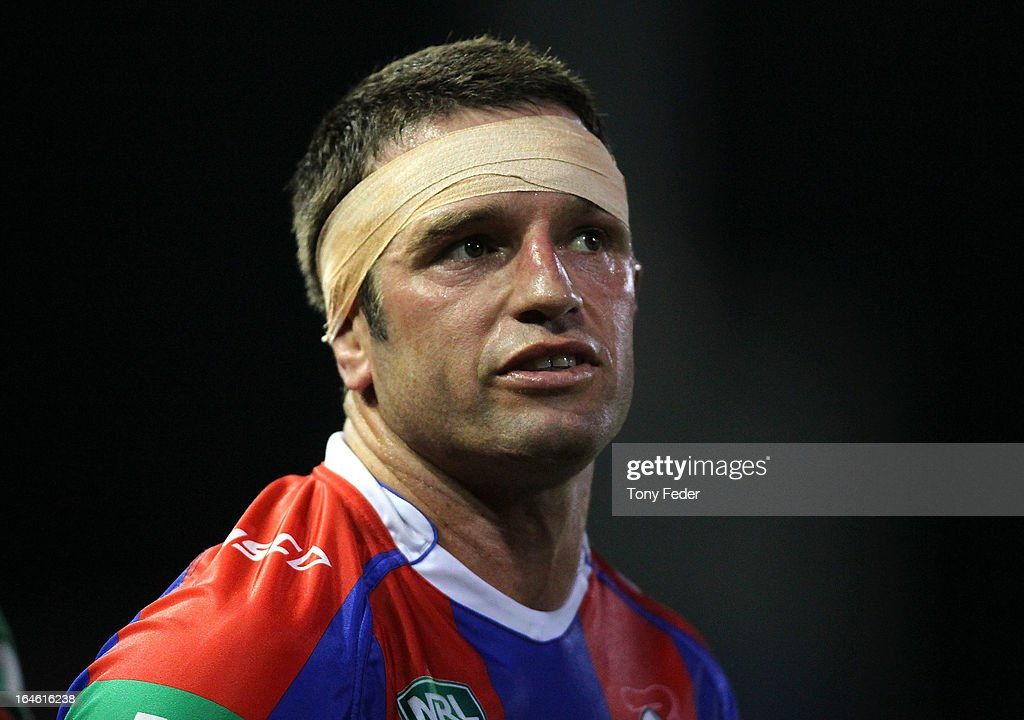 Danny Buderus of the Knights with bandage around his head during the round three NRL match between the Newcastle Knights and the North Queensland Cowboys at Hunter Stadium on March 25, 2013 in Newcastle, Australia.