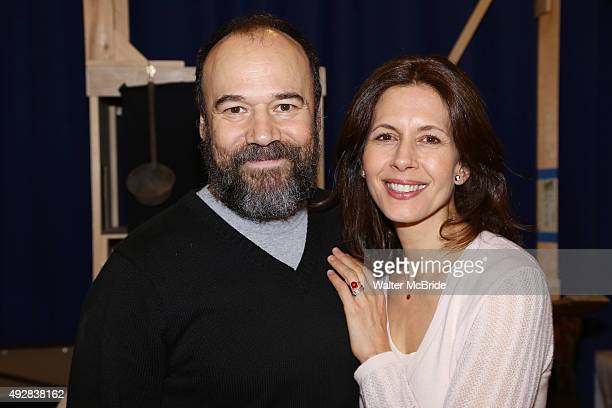 Danny Burstein and Jessica Hecht attend the 'Fiddler On The Roof' Media Day at the New 42nd Street Studios on October 15 2015 in New York City