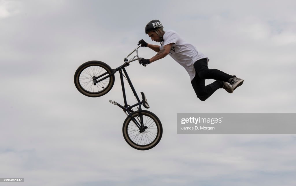 Danny Campbell, a BMX bicycle freestyle athlete performs on October 7, 2017 in Sydney, Australia. The Big Adventure at Sydney Park is part of the month-long Sydney Rides Festival, aimed at encouraging Sydney residents to get outdoors and active.