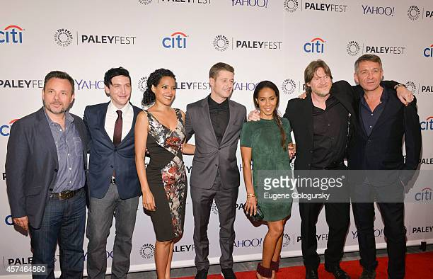 Danny Cannon Robin Lord Taylor Zabryna Guevara Ben McKenzie Jada Pinkett Smith Donal Logue and Sean Pertwee attend the GOTHAM Panel At PaleyFest NY...