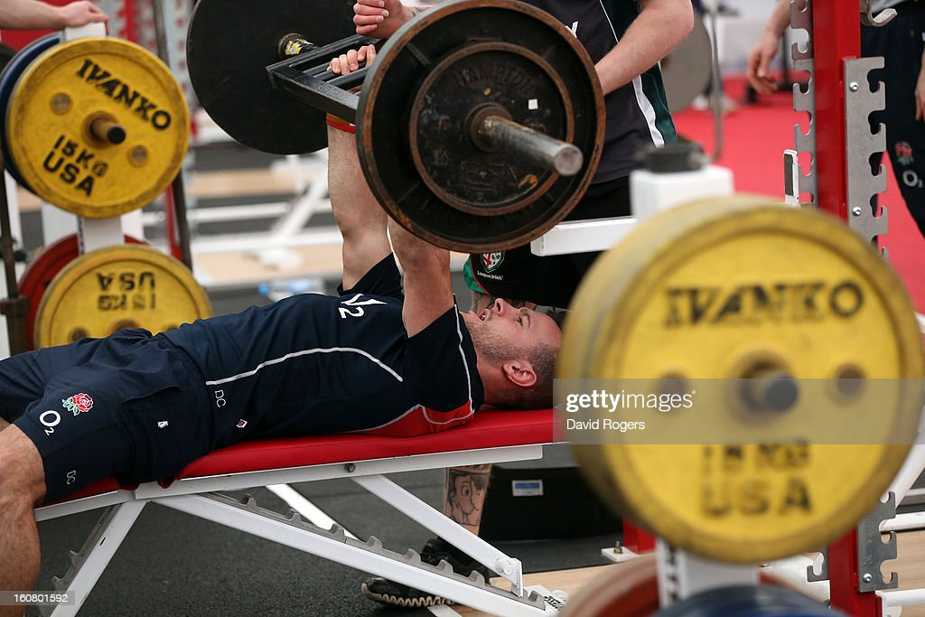 Danny Care lifts weights during the England gym session held at Pennyhill Park on February 6, 2013 in Bagshot, England.