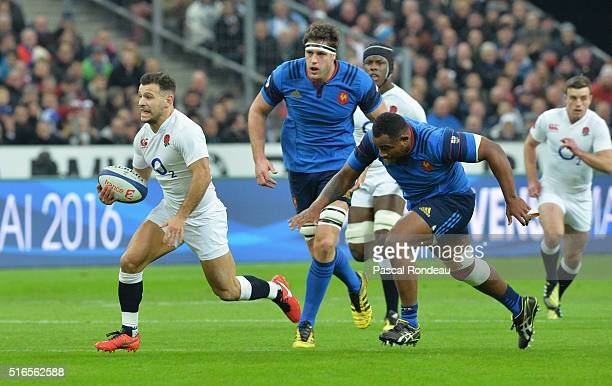Danny Care of England breaks clear to score his team's opening try during the RBS Six Nations match between France and England at Stade de France on...