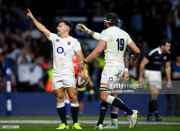 Danny Care of England celebrates scoring his sides seventh try with his England team mates during the RBS Six Nations match between England and...