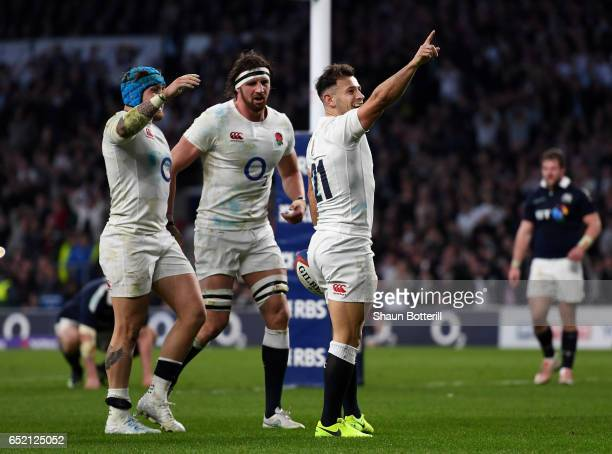 Danny Care of England celebrates scoring his sides seventh try with Tom Wood of England and Jack Nowell of England during the RBS Six Nations match...