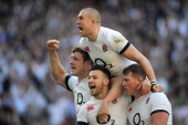 Danny Care of England celebrates with Joe Launchbury Dylan Hartley and Mike Brown as he scores their first try during the RBS Six Nations match...
