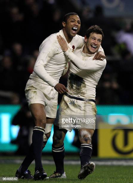 Danny Care of England celebrates with team mate Delon Armitage after scoring a try during the RBS 6 Nations Championship match between England and...