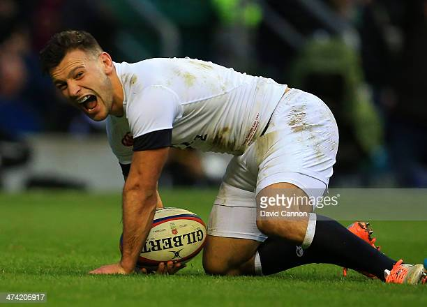 Danny Care of England goes over to score a try during the RBS Six Nations match between England and Ireland at Twickenham Stadium on February 22 2014...