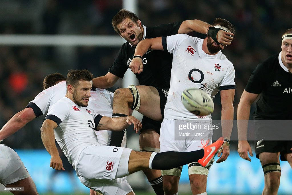 Danny Care of England kicks during the International Test Match between the New Zealand All Blacks and England at Forsyth Barr Stadium on June 14, 2014 in Dunedin, New Zealand.