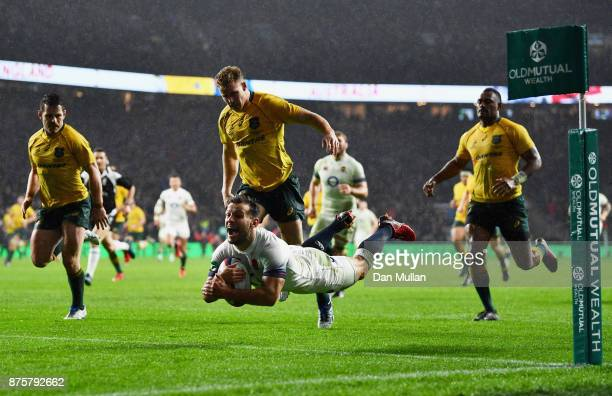 Danny Care of England scores a try during the Old Mutual Wealth Series match between England and Australia at Twickenham Stadium on November 18 2017...