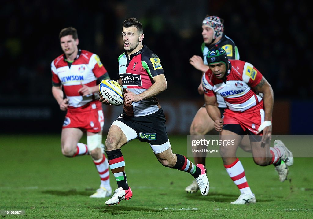 <a gi-track='captionPersonalityLinkClicked' href=/galleries/search?phrase=Danny+Care&family=editorial&specificpeople=539686 ng-click='$event.stopPropagation()'>Danny Care</a> of Harlequins breaks with the ball during the Aviva Premiership match between Gloucester and Harlequins at Kingsholm Stadium on March 29, 2013 in Gloucester, England.