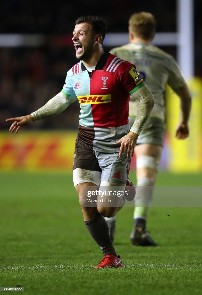 Danny Care of Harlequins celebrates winning the Aviva Premiership match between Harlequins and Saracens at Twickenham Stoop on December 3, 2017 in London, England.