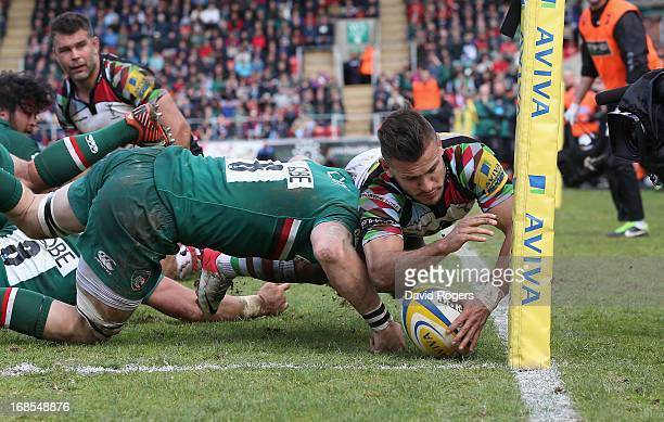 Danny Care of Harlequins dives for the corner but is just short of scoring a try during the Aviva Premiership semi final match between Leicester...