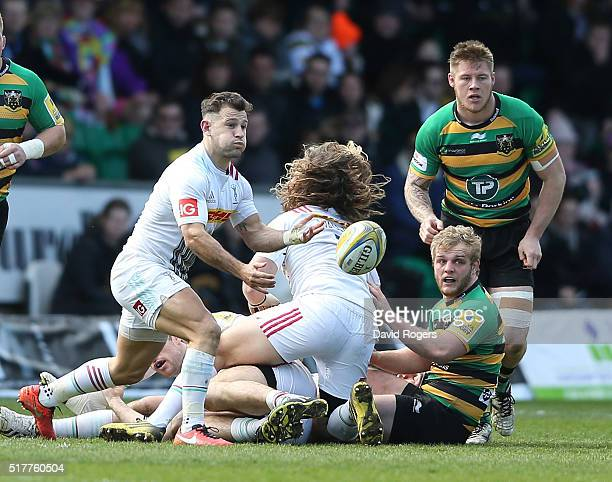 Danny Care of Harlequins passes the ball during the Aviva Premiership match between Northampton Saints and Harlequins at Franklin's Gardens on March...