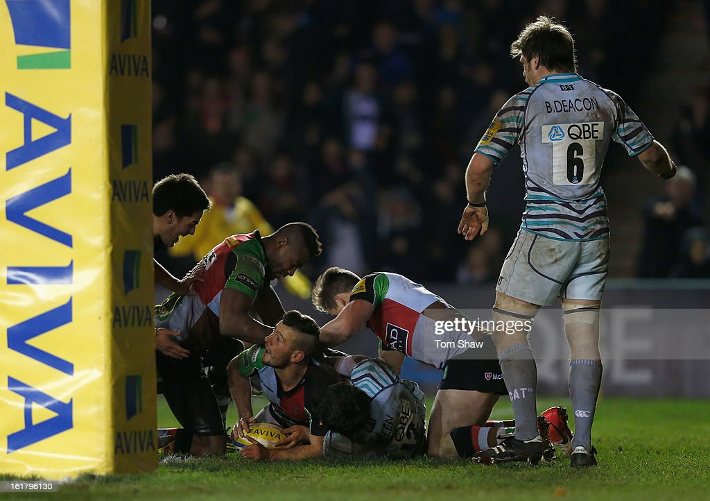 <a gi-track='captionPersonalityLinkClicked' href=/galleries/search?phrase=Danny+Care&family=editorial&specificpeople=539686 ng-click='$event.stopPropagation()'>Danny Care</a> of Quins celebrates scoring a try during the Aviva Premiership match between Harlequins and Leicester Tigers at Twickenham Stoop on February 16, 2013 in London, England.