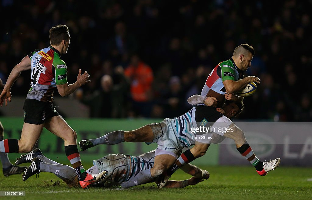 <a gi-track='captionPersonalityLinkClicked' href=/galleries/search?phrase=Danny+Care&family=editorial&specificpeople=539686 ng-click='$event.stopPropagation()'>Danny Care</a> of Quins on his way to scoring a try scoring a try during the Aviva Premiership match between Harlequins and Leicester Tigers at Twickenham Stoop on February 16, 2013 in London, England.