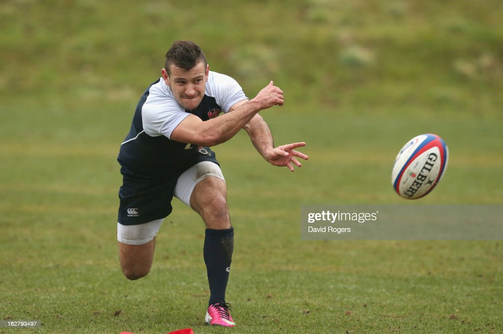 Danny Care passes the ball during the England training session held at Pennyhill Park on February 26, 2013 in Bagshot, England.
