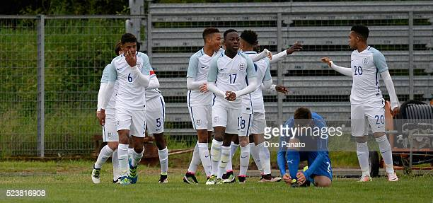 Danny Cashman of England U15 celebrates after scoring his team's first goalduring the U15 International Tournament match between Italy and England at...