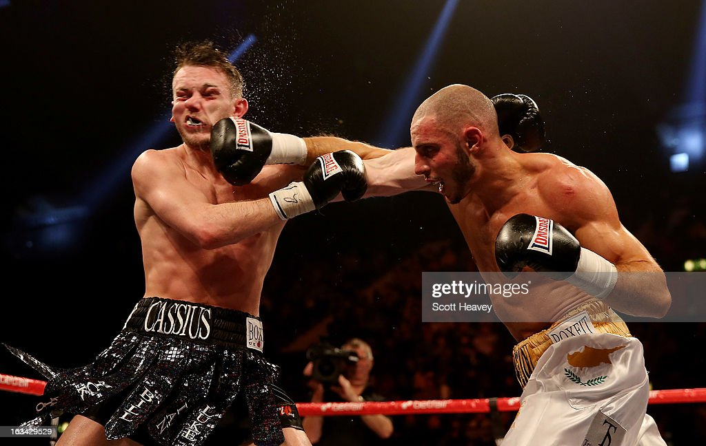 Danny Cassius Connor (L) in action with Chris Evangelou during their Southern Area Light Welterweight Championship bout at Wembley Arena on March 9, 2013 in London, England.