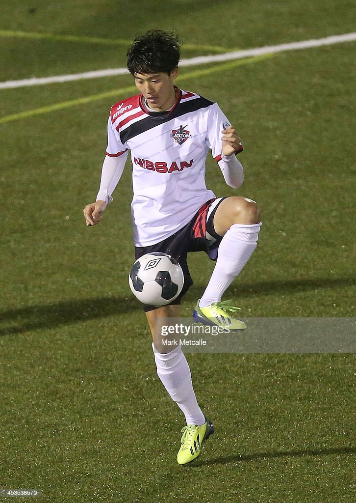 Danny Choi of Blacktown City controls the ball during the FFA Cup match between Blacktown City and Bentleigh Greens at Lilys Football Centre on August 12, 2014 in Blacktown, Australia.