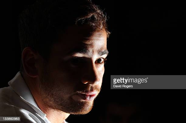 Danny Cipriani faces the press during the Barbarians media conference held at Grosvenor House on November 21 2011 in London England