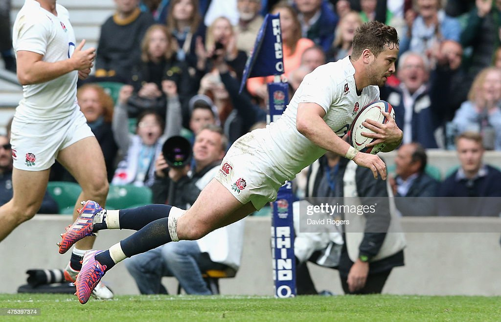 <a gi-track='captionPersonalityLinkClicked' href=/galleries/search?phrase=Danny+Cipriani&family=editorial&specificpeople=688774 ng-click='$event.stopPropagation()'>Danny Cipriani</a> of England dives over to score his second try durng the Rugby International match between England and the Barbarians at Twickenham Stadium on May 31, 2015 in London, England.
