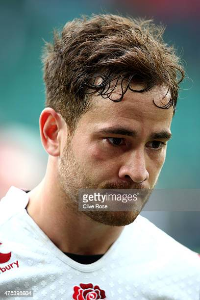 Danny Cipriani of England looks on after the England XV v Barbarians match at Twickenham Stadium on May 31 2015 in London England