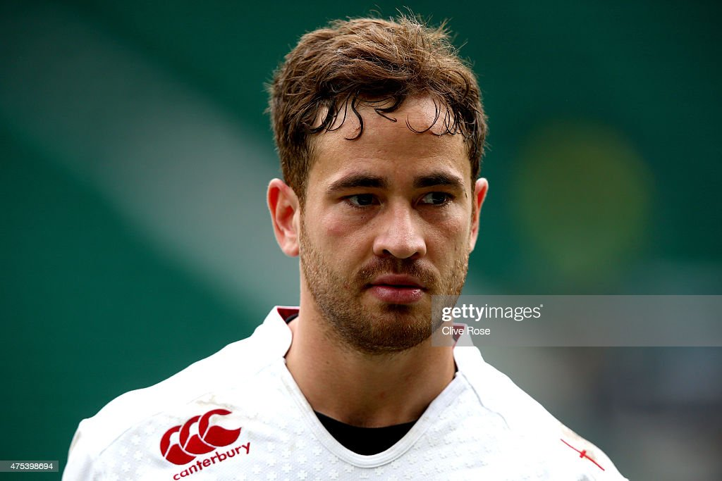 <a gi-track='captionPersonalityLinkClicked' href=/galleries/search?phrase=Danny+Cipriani&family=editorial&specificpeople=688774 ng-click='$event.stopPropagation()'>Danny Cipriani</a> of England looks on after the England XV v Barbarians match at Twickenham Stadium on May 31, 2015 in London, England.