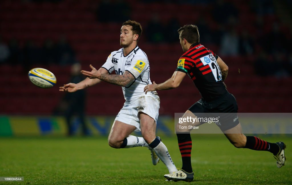 <a gi-track='captionPersonalityLinkClicked' href=/galleries/search?phrase=Danny+Cipriani&family=editorial&specificpeople=688774 ng-click='$event.stopPropagation()'>Danny Cipriani</a> of Sale in action during the Aviva Premiership match between Saracens and Sale Sharks at Vicarage Road on January 6, 2013 in Watford, England.