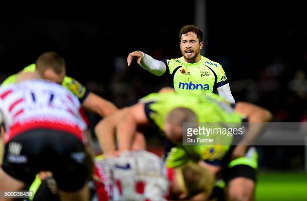 Danny Cipriani of Sale reacts during the Aviva Premiership match between Gloucester Rugby and Sale Sharks at Kingsholm on December 4 2015 in...