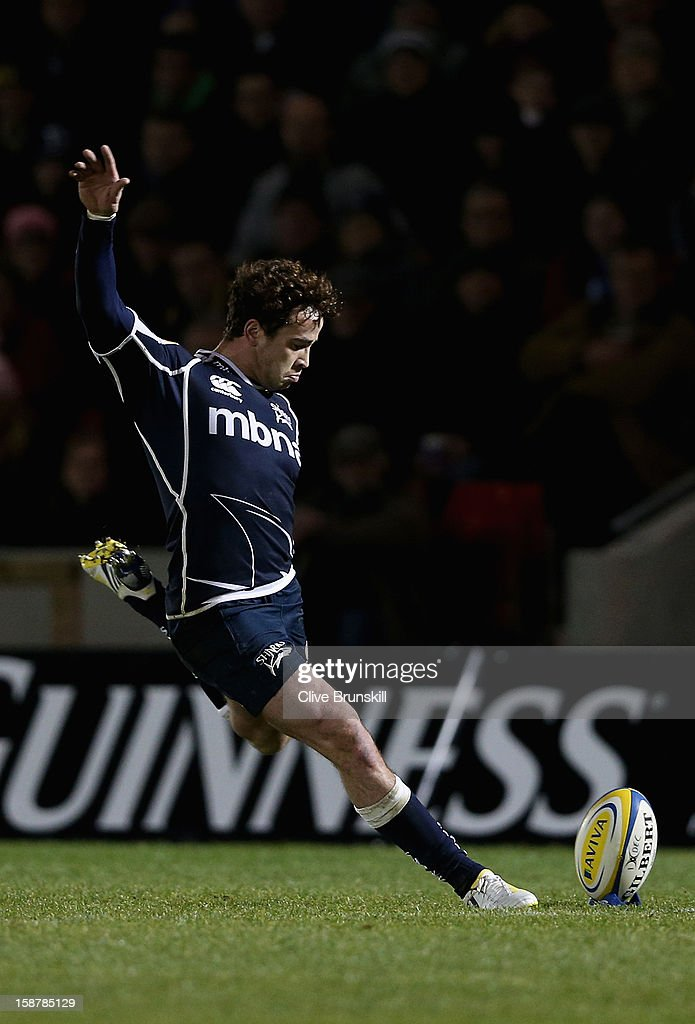 <a gi-track='captionPersonalityLinkClicked' href=/galleries/search?phrase=Danny+Cipriani&family=editorial&specificpeople=688774 ng-click='$event.stopPropagation()'>Danny Cipriani</a> of Sale Sharks converts after Sale Sharks second try during the Aviva Premiership match between Sale Sharks and Worcester Warriors at Salford City Stadium on December 28, 2012 in Salford, England.