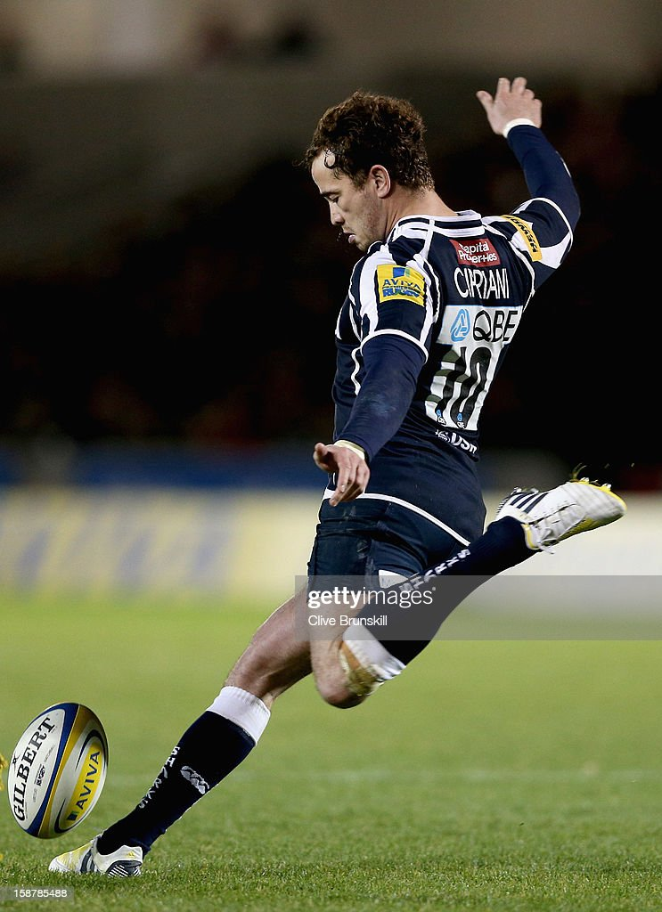 <a gi-track='captionPersonalityLinkClicked' href=/galleries/search?phrase=Danny+Cipriani&family=editorial&specificpeople=688774 ng-click='$event.stopPropagation()'>Danny Cipriani</a> of Sale Sharks in action during the Aviva Premiership match between Sale Sharks and Worcester Warriors at Salford City Stadium on December 28, 2012 in Salford, England.