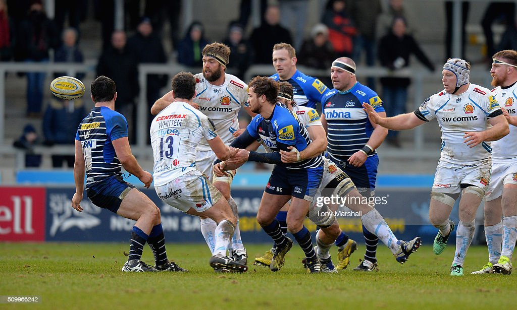 <a gi-track='captionPersonalityLinkClicked' href=/galleries/search?phrase=Danny+Cipriani&family=editorial&specificpeople=688774 ng-click='$event.stopPropagation()'>Danny Cipriani</a> of Sale Sharks is tackled by Don Armand of Exeter Chiefs during the Aviva Premiership match between Sale Sharks and Exeter Chiefs at the A J Bell Stadium on February 13, 2016 in Salford, England