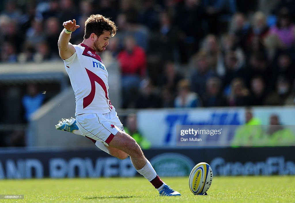 <a gi-track='captionPersonalityLinkClicked' href=/galleries/search?phrase=Danny+Cipriani&family=editorial&specificpeople=688774 ng-click='$event.stopPropagation()'>Danny Cipriani</a> of Sale Sharks kicks a conversion during the Aviva Premiership match between Exeter Chiefs and Sale Sharks at Sandy Park on April 19, 2014 in Exeter, England.