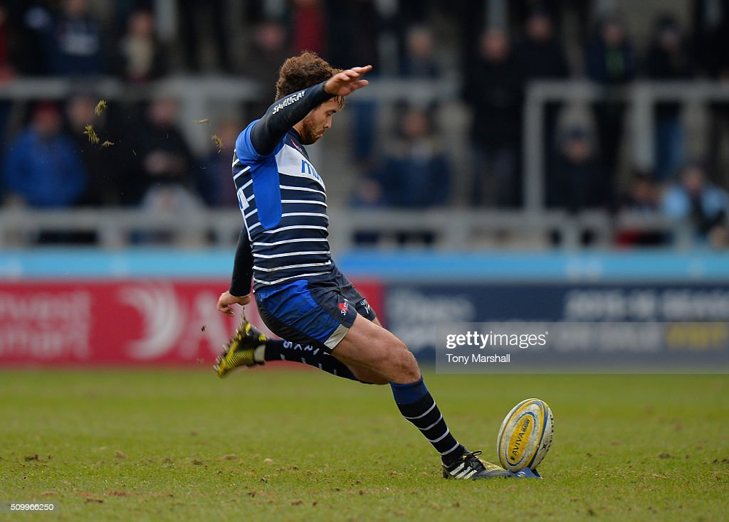 <a gi-track='captionPersonalityLinkClicked' href=/galleries/search?phrase=Danny+Cipriani&family=editorial&specificpeople=688774 ng-click='$event.stopPropagation()'>Danny Cipriani</a> of Sale Sharks kicks a penalty during the Aviva Premiership match between Sale Sharks and Exeter Chiefs at the A J Bell Stadium on February 13, 2016 in Salford, England