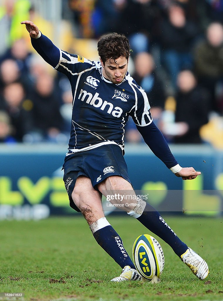 <a gi-track='captionPersonalityLinkClicked' href=/galleries/search?phrase=Danny+Cipriani&family=editorial&specificpeople=688774 ng-click='$event.stopPropagation()'>Danny Cipriani</a> of Sale Sharks kicks at goal during the LV= Cup Final between Sale Sharks and Harlequins at Sixways Stadium on March 17, 2013 in Worcester, England.