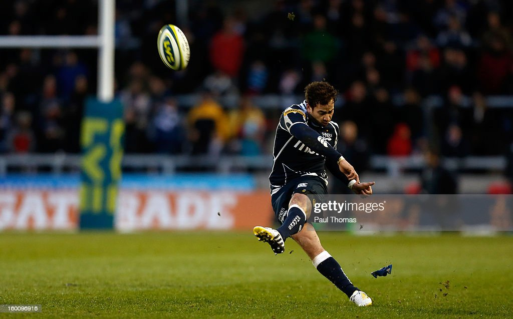 Danny Cipriani of Sale Sharks kicks at goal during the LV= Cup match between Sale Sharks and Scarlets at Salford City Stadium on January 26, 2013 in Salford, England.