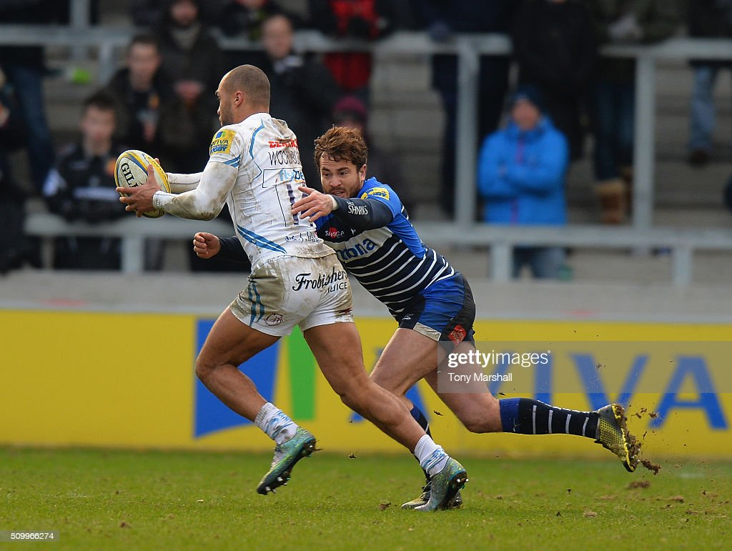 <a gi-track='captionPersonalityLinkClicked' href=/galleries/search?phrase=Danny+Cipriani&family=editorial&specificpeople=688774 ng-click='$event.stopPropagation()'>Danny Cipriani</a> of Sale Sharks tackles James Short of Exeter Chiefs during the Aviva Premiership match between Sale Sharks and Exeter Chiefs at the A J Bell Stadium on February 13, 2016 in Salford, England