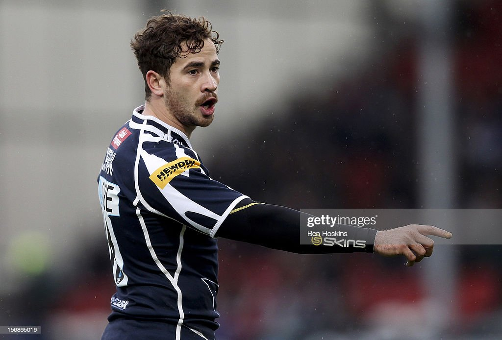 Danny Cipriani of Sale shouts instructions during the Aviva Premiership match between Gloucester and Sale Sharks at the Kingsholm Stadium on November 24, 2012 in Gloucester, England.