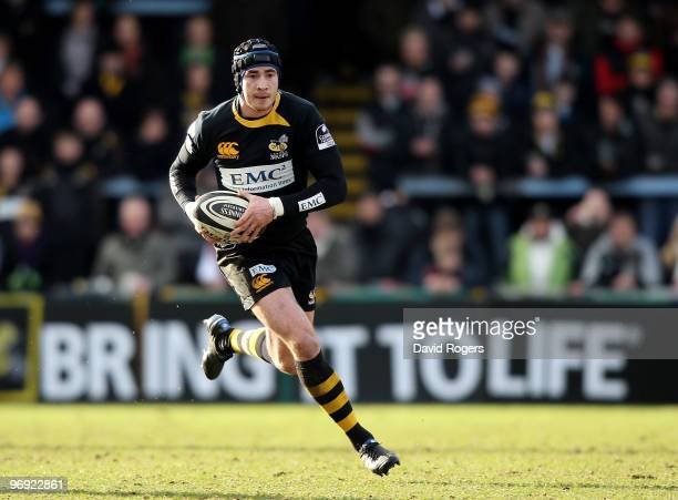 Danny Cipriani of Wasps runs with the ball during the Guinness Premiership match between London Wasps and Saracens at Adams Park on February 21 2010...