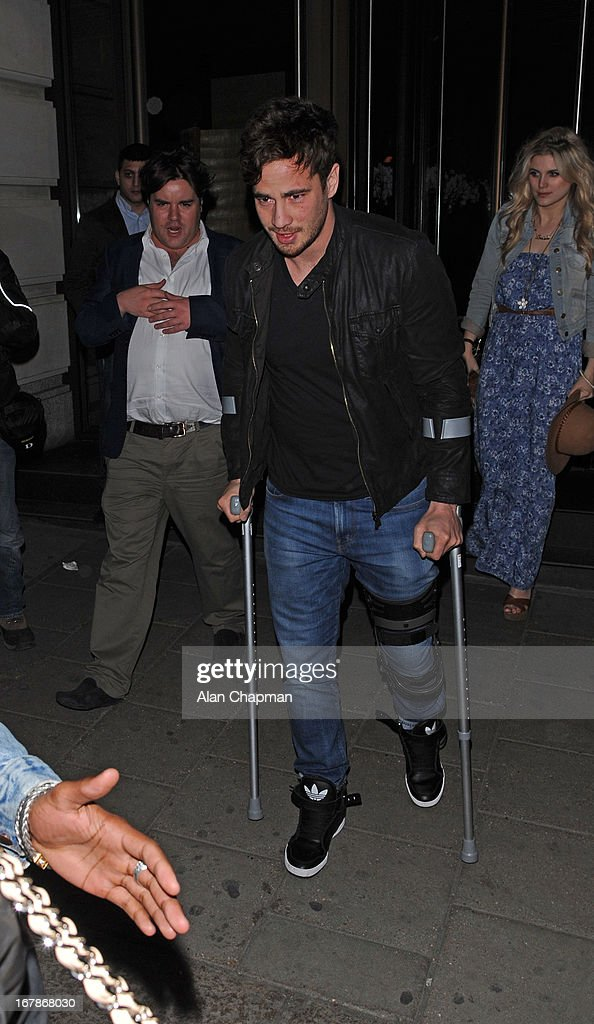 Danny Cipriani sighting leaving Novikov Restaurant on May 1, 2013 in London, England.