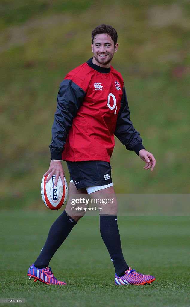 <a gi-track='captionPersonalityLinkClicked' href=/galleries/search?phrase=Danny+Cipriani&family=editorial&specificpeople=688774 ng-click='$event.stopPropagation()'>Danny Cipriani</a> smiles during the England Rugby Training Session at Pennyhill Park on January 27, 2015 in Bagshot, England.