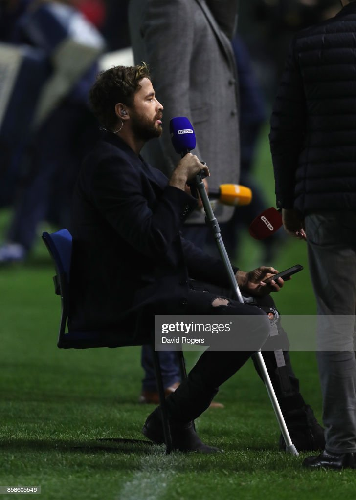 Danny Cipriani, the Wasps standoff, sits as he conducts television work while he's out of the game for weeks with a leg injury during the Aviva Premiership match between Harlequins and Sale Sharks Sharks at Twickenham Stoop on October 6, 2017 in London, England.