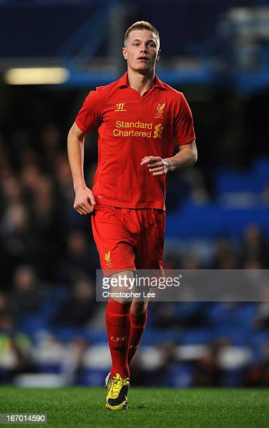 Danny Cleary of Liverpool in action during the FA Youth Cup semi final second leg match between Chelsea and Liverpool at Stamford Bridge on April 19...