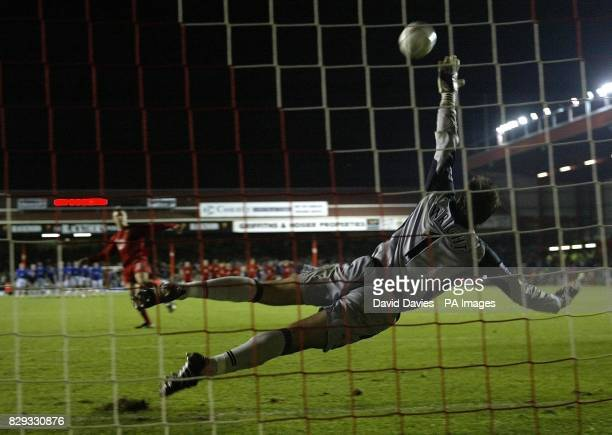 Danny Coles of Bristol City sees his penalty hit the bar during the penalty shoot out against Everton leading to Bristol City's 43 defeat in their...