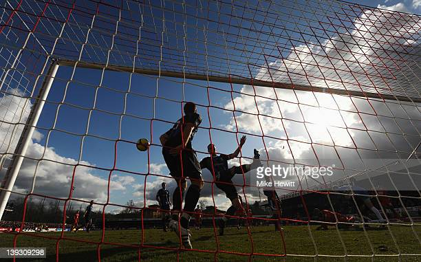 Danny Collins and Ryan Shawcross of Stoke City clear from the goal line during the FA Cup with Budweiser Fifth Round match between Crawley Town and...