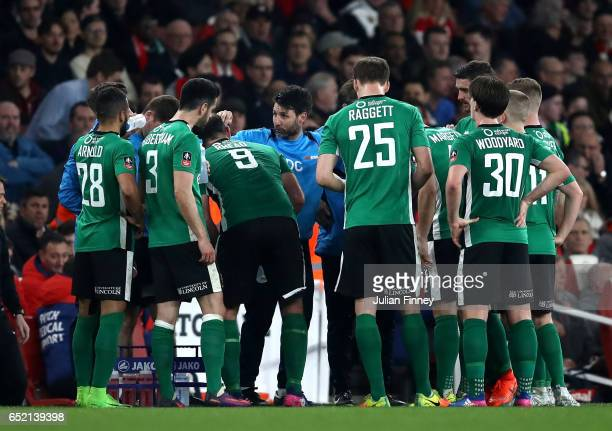 Danny Cowley manager of Lincoln City gives his team instructions during The Emirates FA Cup QuarterFinal match between Arsenal and Lincoln City at...